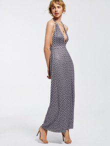 Halter Open Back Geometric Maxi Dress - Geometric Print 2xl