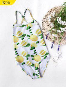 الليمون طباعة الاطفال سترابي قطعة واحدة ملابس السباحة - الأبيض والأصفر 4t