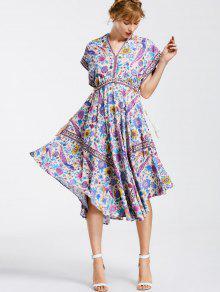 Empire Waist Batwing Floral Midi Dress - Floral M