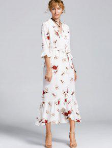 High Slit Floral Belted Maxi Dress - White S