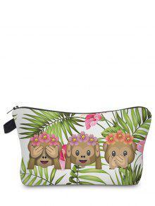 Emoji Print Makeup Bag - Grass Green