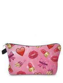 Emoji Print Makeup Bag - Rose Red