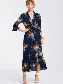 High Slit Floral Belted Maxi Dress - Cadetblue M