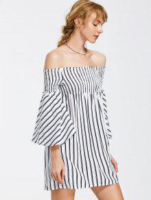 Off The Shoulder Flare Sleeve Striped Dress - Stripe M