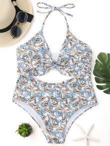 Poppy Print Cut Out One Piece Swimsuit - Floral M