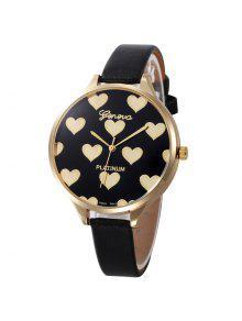 ساعة وجهها ذو نمط القلب بجلد صناعي - أسود