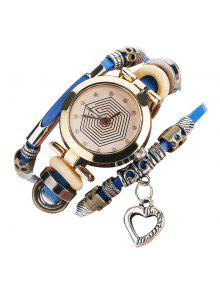Rhinestone Heart Layered Charm Bracelet Watch - Blue