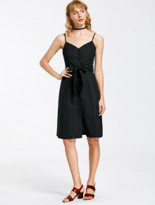 Button Up Belted Mini Dress - Black L
