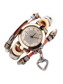 Rhinestone Heart Layered Charm Bracelet Watch - Brown