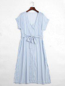 Stripes Belted Half Buttoned Midi Dress - Stripe L