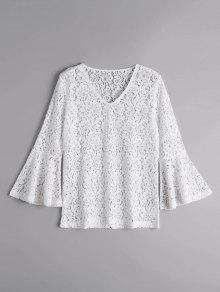 Flare Sleeve Sheer Lace Blouse - White L