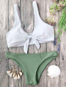 Juego De Bikini Nudoso Acolchado Bralette - Blanco Y Verde S