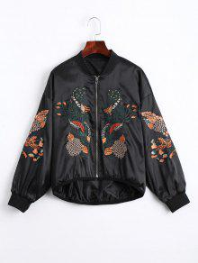 Floral Embroidered High Low Bomber Jacket - Black M