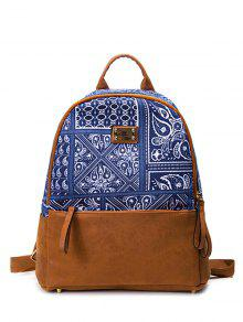 PU Leather Panel Tribal Print Backpack - Blue