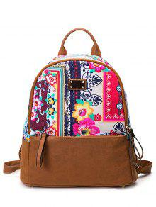 PU Leather Panel Tribal Print Backpack - Red