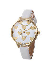ساعة وجهها ذو نمط القلب بجلد صناعي - أبيض