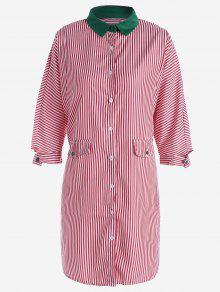 Button Up Striped Shirt Dress - Red S