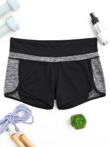 Color Block Heathered Workout Shorts - Black And Grey M