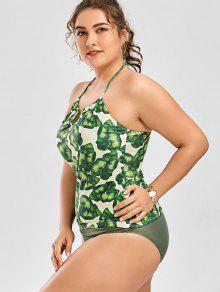 0a0ac1e2009 28% OFF  2019 Palm Leaf Print Plus Size Tankini Bathing Suit In ...