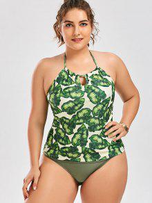 Palm Leaf Print Plus Size Tankini Bathing Suit