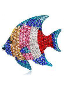متعدد الألوان مطلي الأسماك الاستوائية حجر الراين بروش
