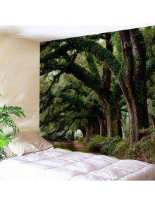 الجدار شنقا الفن ديكور الأشجار شارع طباعة نسيج - أخضر W71 بوصة * L91 بوصة