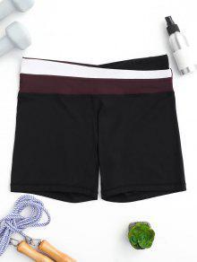 Asymmetric Waist Color Block Shorts - Red M