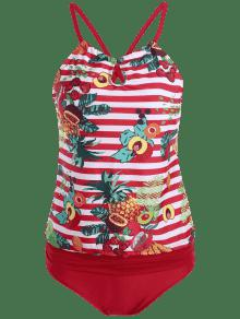 6f36cb30458 2019 Cross Back Tropical Fruit Print Plus Size Tankini Set In RED ...