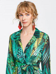 84d11fda61d 34% OFF  2019 High Slit Tropical Beach Maxi Dress In GREEN