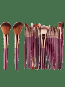 18Pcs Multifunctional Facial Makeup Brushes Set - Brownish Purple