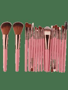 18pcs Multifuncional Maquillaje Facial Pinceles Conjunto - Rosáceo Marrón