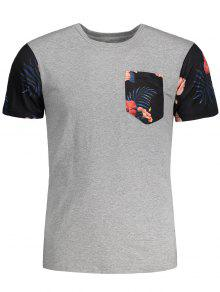 Tropical Floral Print Patchwork T-shirt - Gray L