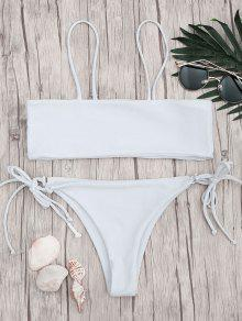 Bandeau Bikini Top And Tieside String Bottoms - White S