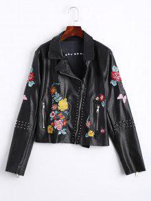 الأزهار المطرزة بو الجلود السائق سترة - أسود L
