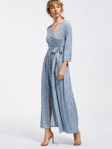 Belted Slit Printed Maxi Dress - Light Blue M