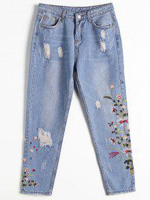 Destoryed Floral Embroidered Tapered Jeans - Denim Blue S