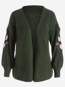 Floral Embroidered Lantern Sleeve Cardigan - Army Green