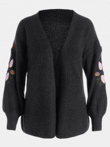 Floral Embroidered Lantern Sleeve Cardigan - Black