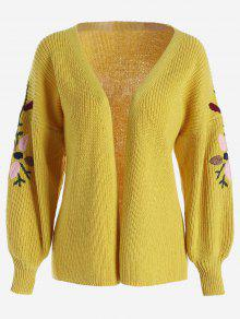 Floral Embroidered Lantern Sleeve Cardigan - Yellow