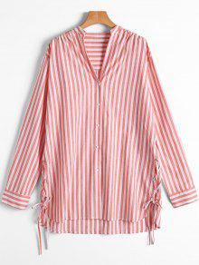 Stripes Button Up Lace Up Shirt - Red And White M