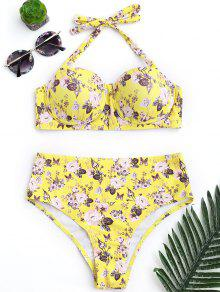 Push Up Floral Underwire High Rise Bikini - Yellow M