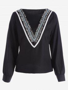Round Collar Long Sleeve Embellished Blouse - Black M