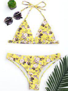 Padded Tiny Floral High Cut Bikini Set - Yellow S