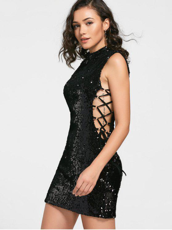sale Sequined Lace-up Prom Dress - BLACK M