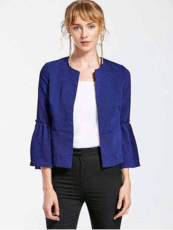 best Flare Sleeve Open Front Jacket - CERULEAN L