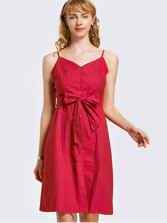 Botón de mini vestido con cinturón - Rojo S