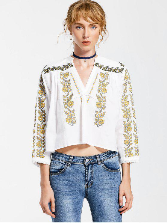 V Neck Embroidered Tunic Blouse - White L