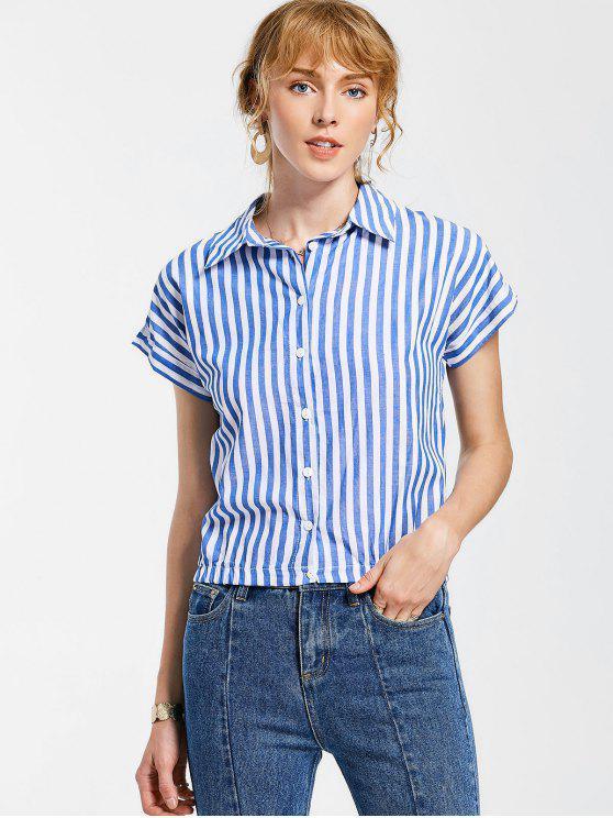 ladies Button Up Striped Shirt - BLUE XL