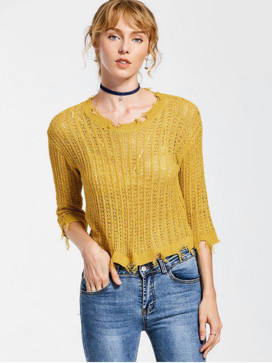 Top en tricot brodé - Curcumae TAILLE MOYENNE
