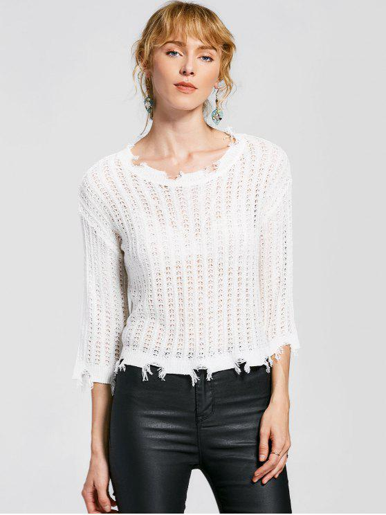 ladies Frayed Hem Pullover Knitted Top - WHITE ONE SIZE